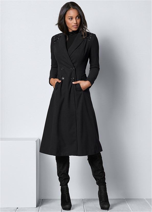 Lace Up Detail Coat,Fringe Scarf