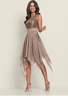 a810602cb7 SEQUIN DETAIL PARTY DRESS in Taupe
