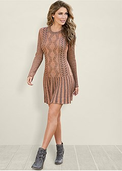 two tone sweater dress