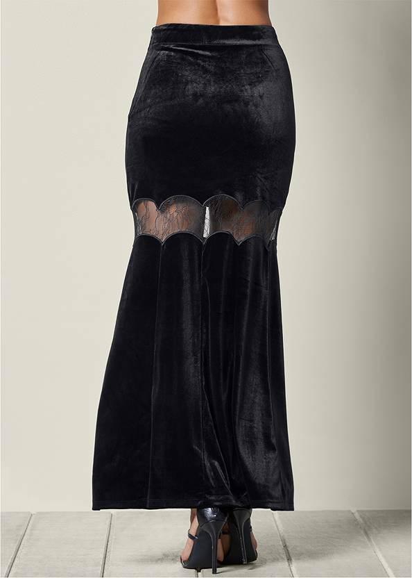 Back view Velvet Maxi Skirt