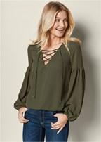 lace up detail blouse