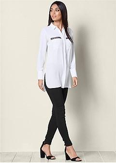 embellished pocket blouse
