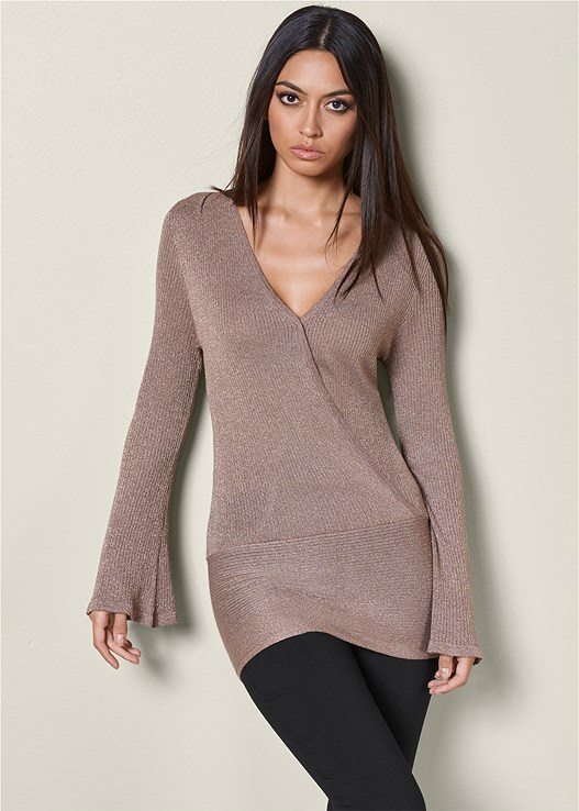 DEEP V BANDED SWEATER