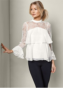 layered lace sleeve blouse