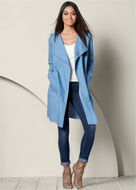 LONG JEAN JACKET in Light Wash  64945d7843