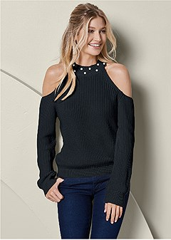 pearl cold shoulder sweater