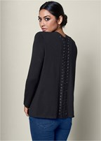 lace up detail cardigan