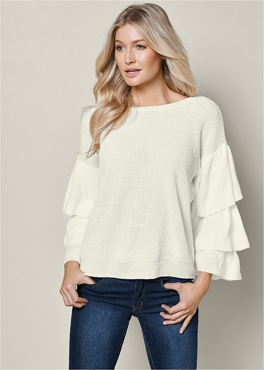 RUFFLE DETAIL SWEATER,COLOR SKINNY JEANS,NATURAL BEAUTY BRALETTE