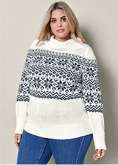 0b8e6b92f13e Plus Size TURTLENECK SWEATER in Cream Multi