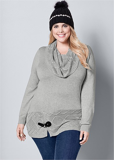 Plus Size Buckle Detail Cowl Sweater
