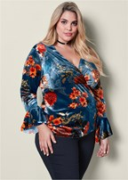 plus size printed velvet v-neck top