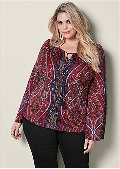 plus size bell sleeve print top