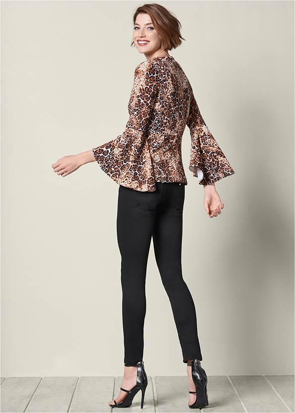 Back view Leopard Bell Sleeve Top