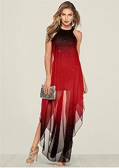 ombre glitter long dress