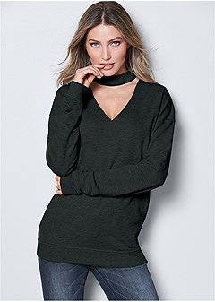 choker neck sweatshirt