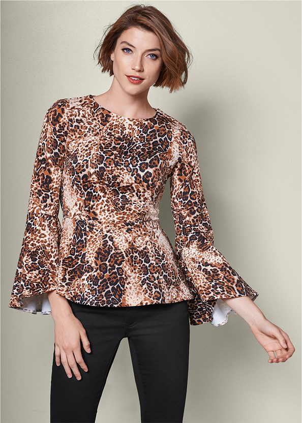 Leopard Bell Sleeve Top,Mid Rise Color Skinny Jeans,High Heel Strappy Sandals