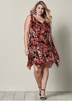 plus size floral burnout dress