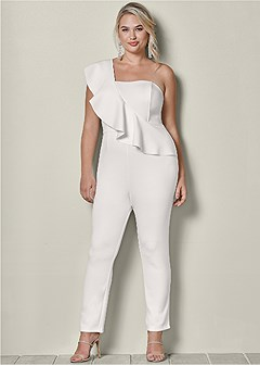 plus size one shoulder jumpsuit