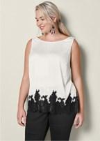 plus size lace trim blouse