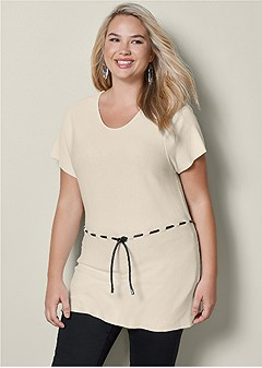 plus size drawstring top