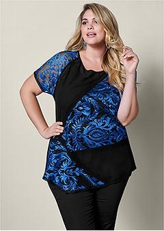 plus size short sleeve lace blouse