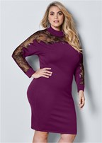 plus size lace detail sweater dress