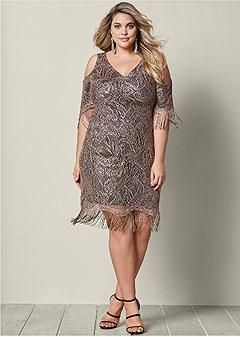 plus size fringe detail lace dress