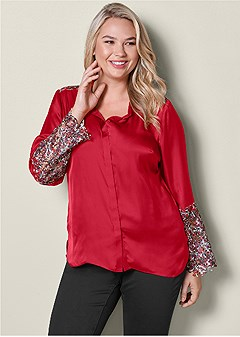 plus size lace detail blouse