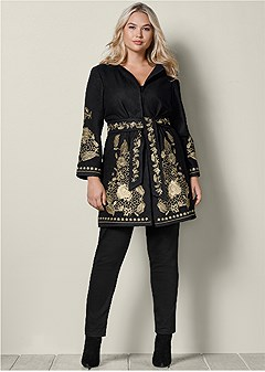 plus size belted embroidered coat