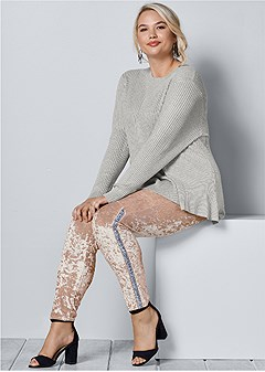 plus size embellished velvet leggings