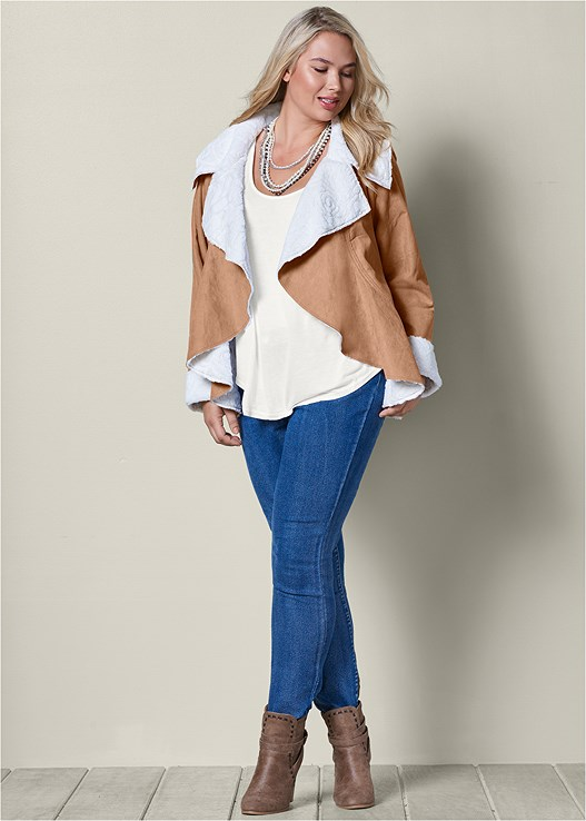 WATERFALL SHEARLING COAT,SCOOP NECK TANK,COLOR SKINNY JEANS,WRAP STITCH DETAIL BOOTIES