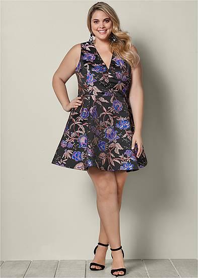 Plus Size V-Neck Flare Dress