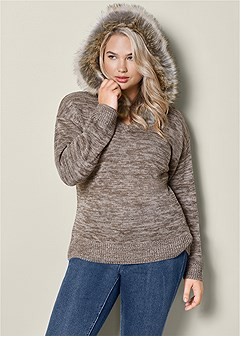 plus size faux fur trim sweater