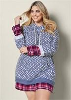 plus size mixed print sleep dress