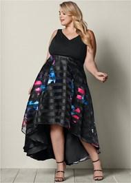 FRONT VIEW Printed High Low Hem Dress