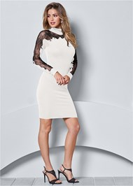 Front view Lace Detail Sweater Dress
