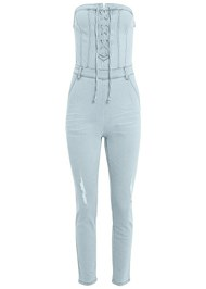 Alternate View Lace Up Denim Jumpsuit