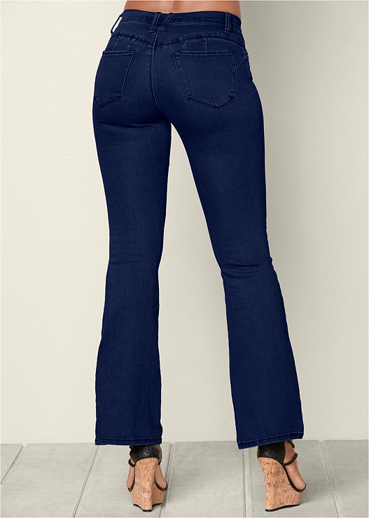 BUM LIFTER BOOT CUT JEANS,BRAIDED DETAIL WEDGES