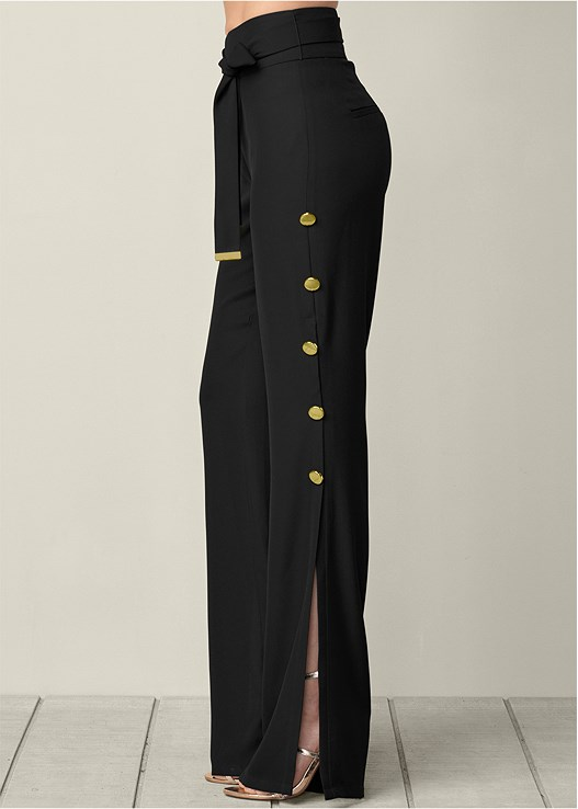 BUTTON DETAIL WIDE PANTS,OFF THE SHOULDER TOP,BUCKLE DETAIL STRAPPY HEELS