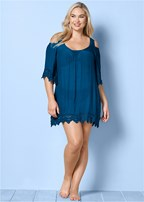plus size cold shoulder cover-up