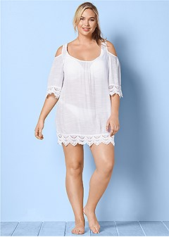 plus size cold shoulder cover up