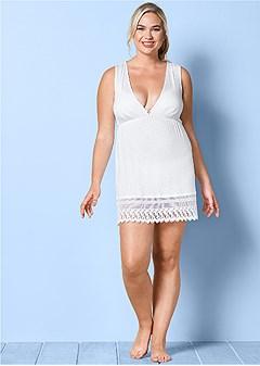 plus size sleeveless v-neck cover-up