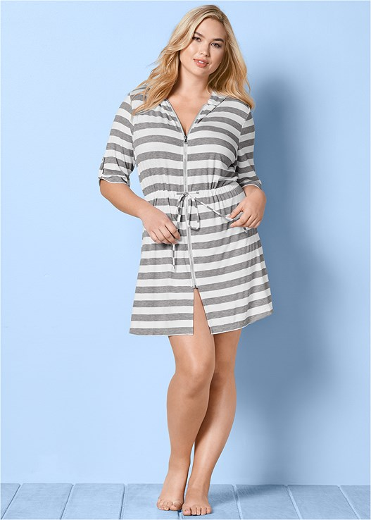 ZIP FRONT HOODED DRESS