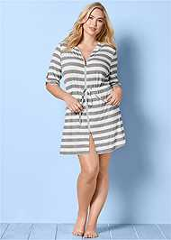 FRONT VIEW Zip Front Hooded Cover-Up Dress