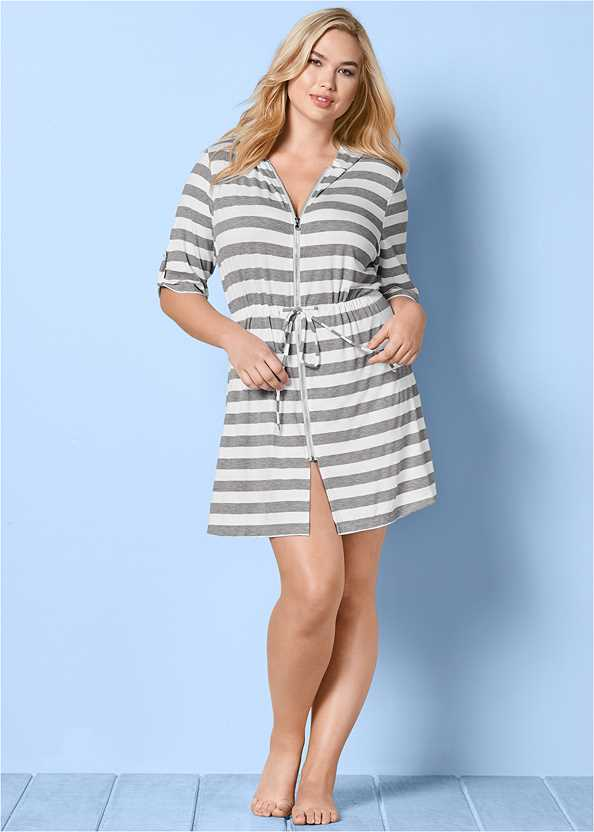 Zip Front Hooded Cover-Up Dress