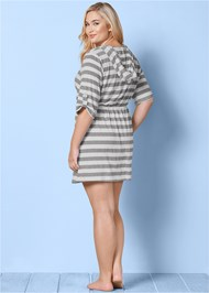 BACK VIEW Zip Front Hooded Dress