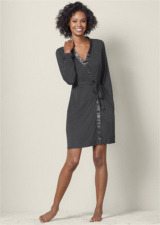 SATIN TRIM SHORT ROBE