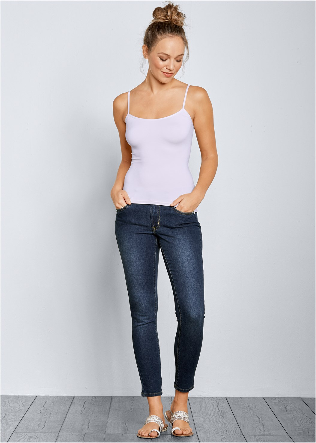Mid Rise Color Skinny Jeans,Studded Satchel Crossbody,Mid Rise Slimming Stretch Jeggings,Basic Cami Two Pack