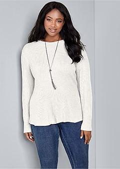 plus size ribbed peplum sweater