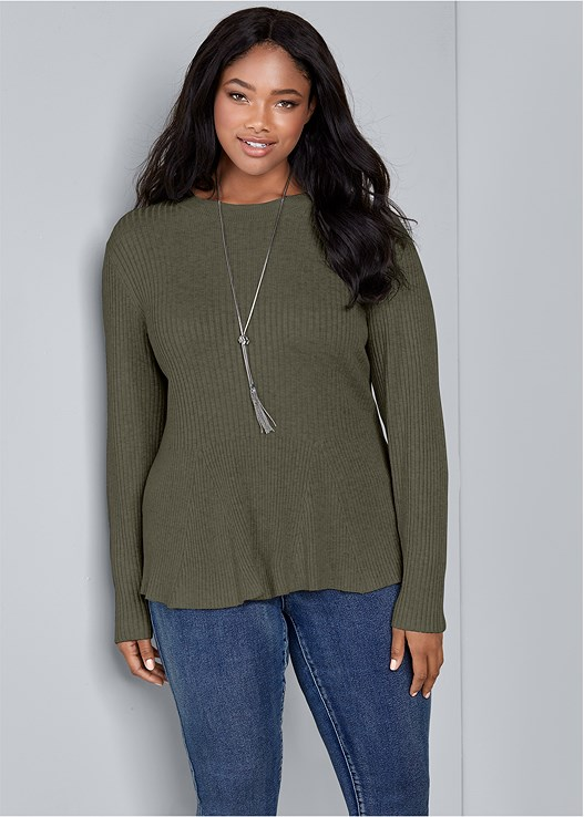 RIBBED PEPLUM SWEATER,COLOR SKINNY JEANS,WRAP STITCH DETAIL BOOTIES